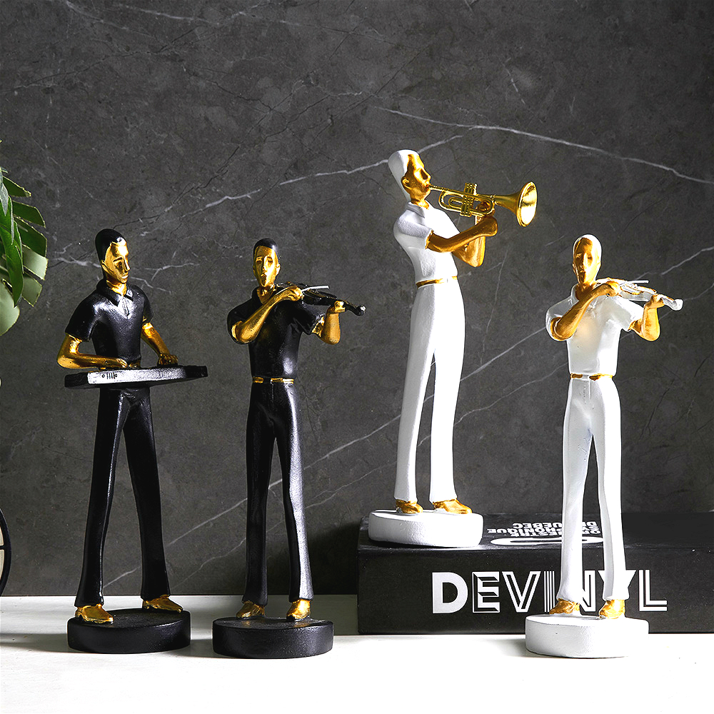 Music Band Statue Decoration Musician Figurine Music Band Model Resin Artware Sculpture Statue Decor Home Decoration Accessories