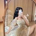Женское кружевное платье Harajuku, элегантное бежевое платье с V-образным вырезом, летний сарафан, новинка 2021