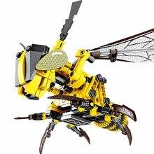 330 шт. механические строительные блоки Rhubarb Bee, вставляемые блоки, стрекоза, блоки насекомых, модели, наборы для гаража, обучающие игрушки