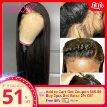 Cexxy 30inch Wig Lace-Frontal Human-Hair 250-Density Pre-Plucked 13x6 Straight Women