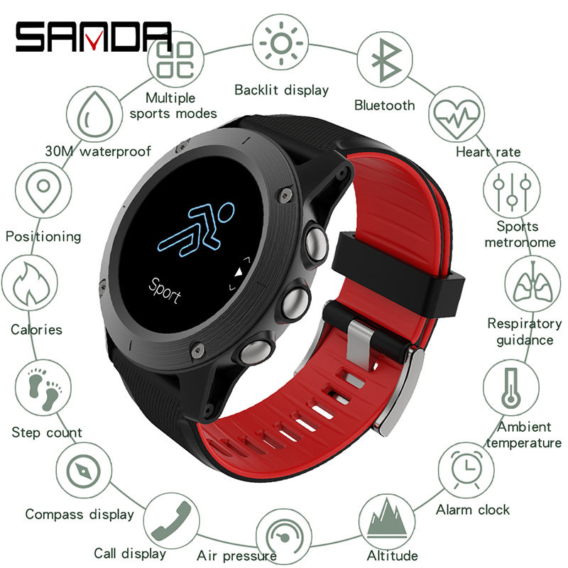 SANDA 2019 New Leather Smart <font><b>Watch</b></font> Men Leather Smart <font><b>Watch</b></font> Sport For iPhone Heart Rate <font><b>Blood</b></font> <font><b>Pressure</b></font> Fitness Tracker Smartwatch image