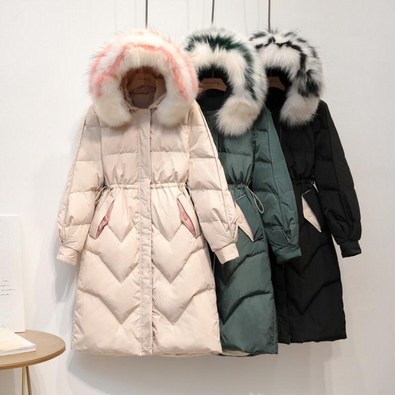 Female Winter Warm Long Duck   Down     Coats   Oversize Loose Natural Fox Fur Strim Women's Parkas With Hoodie