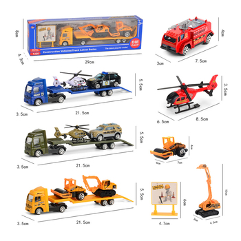цены Sliding Flatbed Trailer Trucks Toy Alloy Trailer Engineering Roller Excavator Loader Truck Model Car Toys for Boys Children Gift