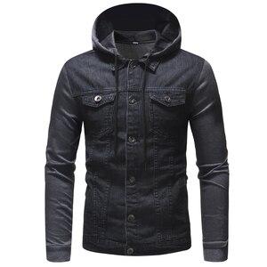Image 2 - Nowy 2020 mężczyźni Jeans kurtki człowiek z kapturem na jesień płaszcz dżinsowy dla mężczyzn wysokiej jakości mody klasyczne Patchwork męskie ubrania Streetwear