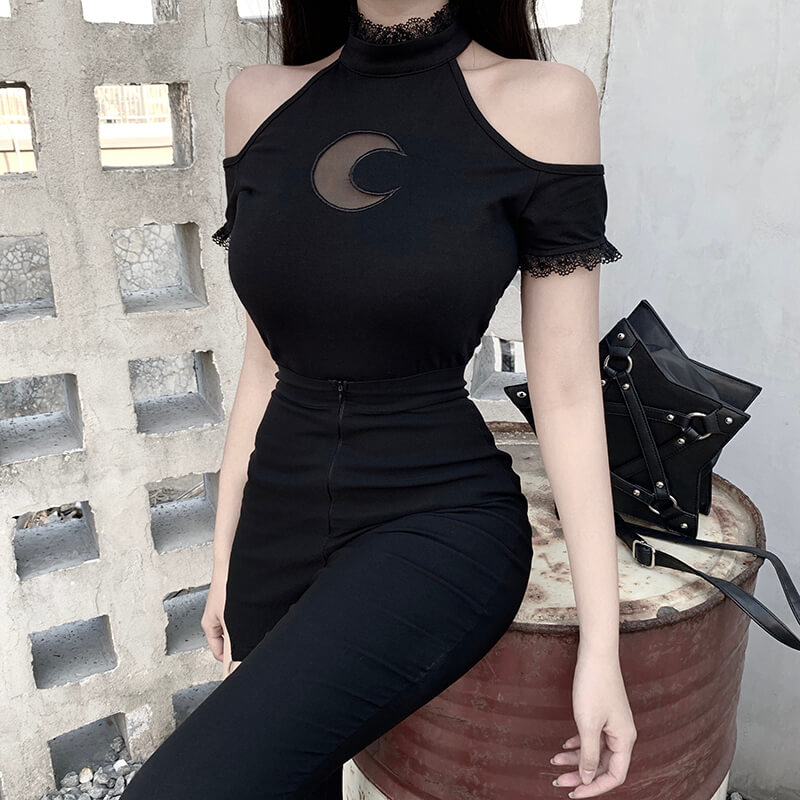 H39c49d0be9e4467682f1f7889c190e088 - InsGoth Sexy Off Shoulder Black Halter T-shirts Women Gothic Punk Moon Hollow Out Bodycon Female Tops Blackless Cotton Tees