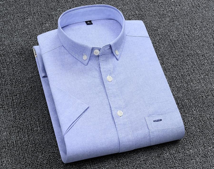 H39c4a3edea4145bb95d3d36d8cacf2faR Men's Summer Pure Cotton Oxford Shirts Casual Slim Fit Design Short Sleeve Fashion Male Blouse Shirt
