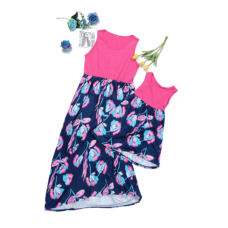 Summer New Mother kids Mom And Daughter splicing Dress Girl Big Family Matching Clothes Floral Print Mother Daughter Dresses