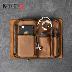 AETOO Multifunctional Crazy Horse Leather Men's Clutch Retro Leather Phone Bag Leather Clutch Kit