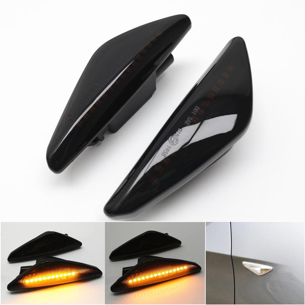 2pc LED clignotant dynamique côté garde boue marqueur lampe séquentielle indicateur lumineux pour BMW X3 F25 X5 E70 X6 E71 E72 2008 2014 - 1