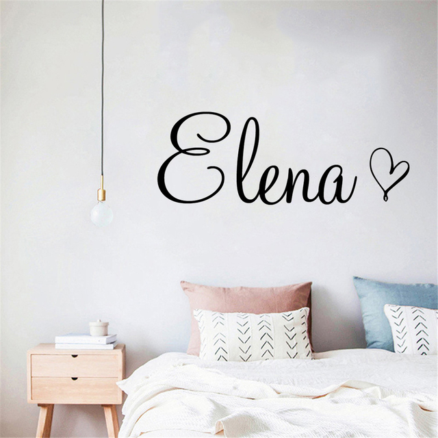 Art Wall Decal Simple Custom Name With A Heart Decor For Children Bedroom Vinyl Personalized Baby Name Playing Room Sticker
