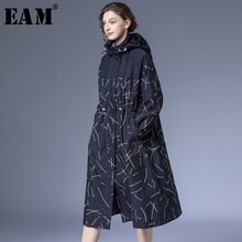 [EAM] Women Pattern Print Split Big Size Trench New Hooded Long Sleeve Loose Fit