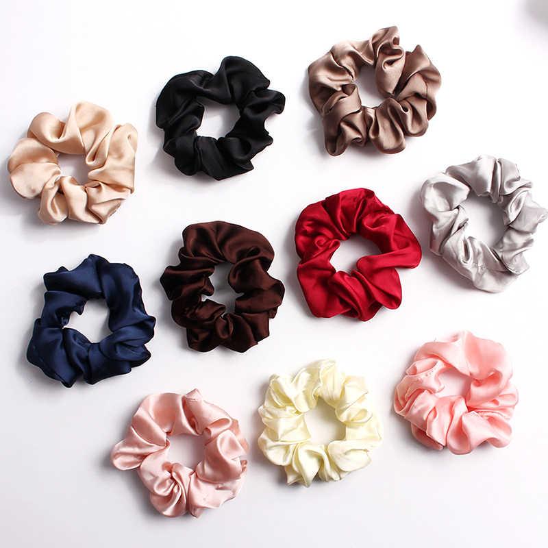 Solid Colors Silky Satin Hair Scrunchies Elastic Hair Ties Ponytail Hair Rope