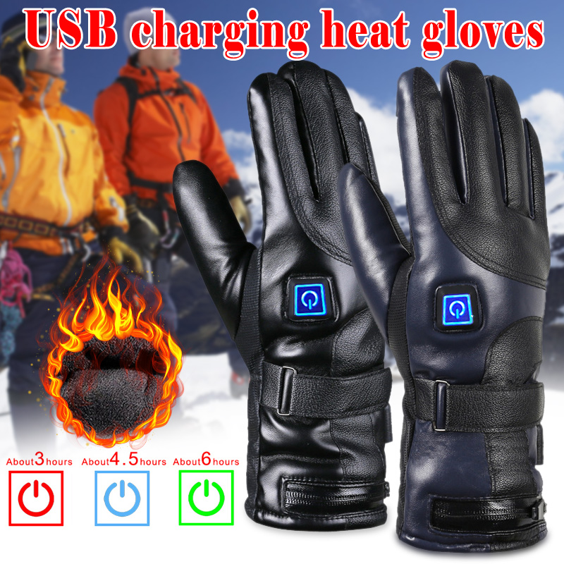Wholesale PU Leather Electric Heated Gloves Winter Warmer With Rechargeable Battery For Motorcycle G66
