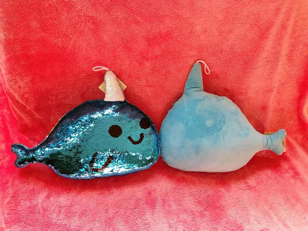Flip lentejuelas almohada de delfines w/relleno 40cm juguetes suave Throw Glitter delfín cojín peluche animales sofá cojín regalos novia