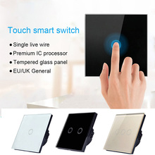 220V Lamp 1/2/3 Gang 1 Way Wall Touch Screen Switch Touch Sensor Switch Touch Switch For Crystal Glass Panel LED Light 1 2 3 gang 1 way touch switch crystal glass panel led light touch screen switch eu uk ac 110v 220v touch sensor wall switch
