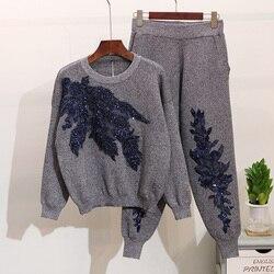 Женский трикотажный спортивный костюм, осенние свитера с длинными рукавами и вышитыми блестками и цветами, повседневные брюки, комплект из ...