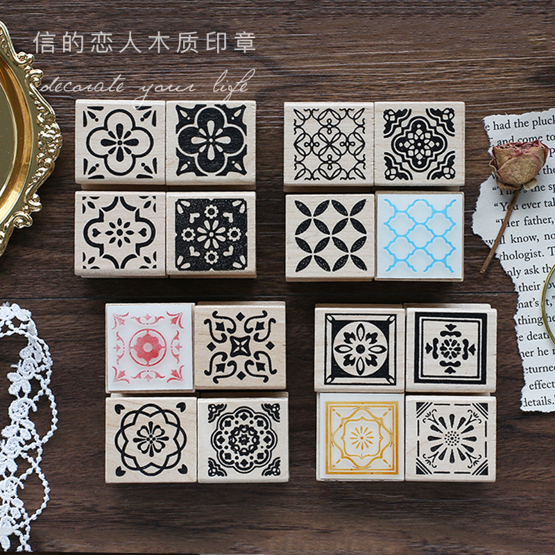 Vintage Moroccan Style Pattern Decoration Stamp Wooden Rubber Stamps For Scrapbooking Stationery DIY Craft Standard Stamp