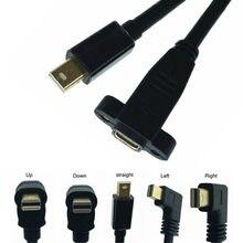 Direito Angular 90 Graus Mini DisplayPort DP Macho para Fêmea com Parafuso para Montagem Em Painel Cabo de Extensão para iMac & LED cinema Display