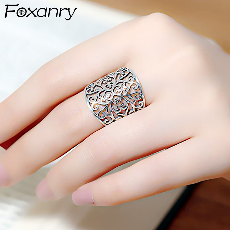 engraved round geometric pattern women man unisex closed ring 925 sterling silver size 54 ethnic Bohemian Gothic jewelry wedding ring