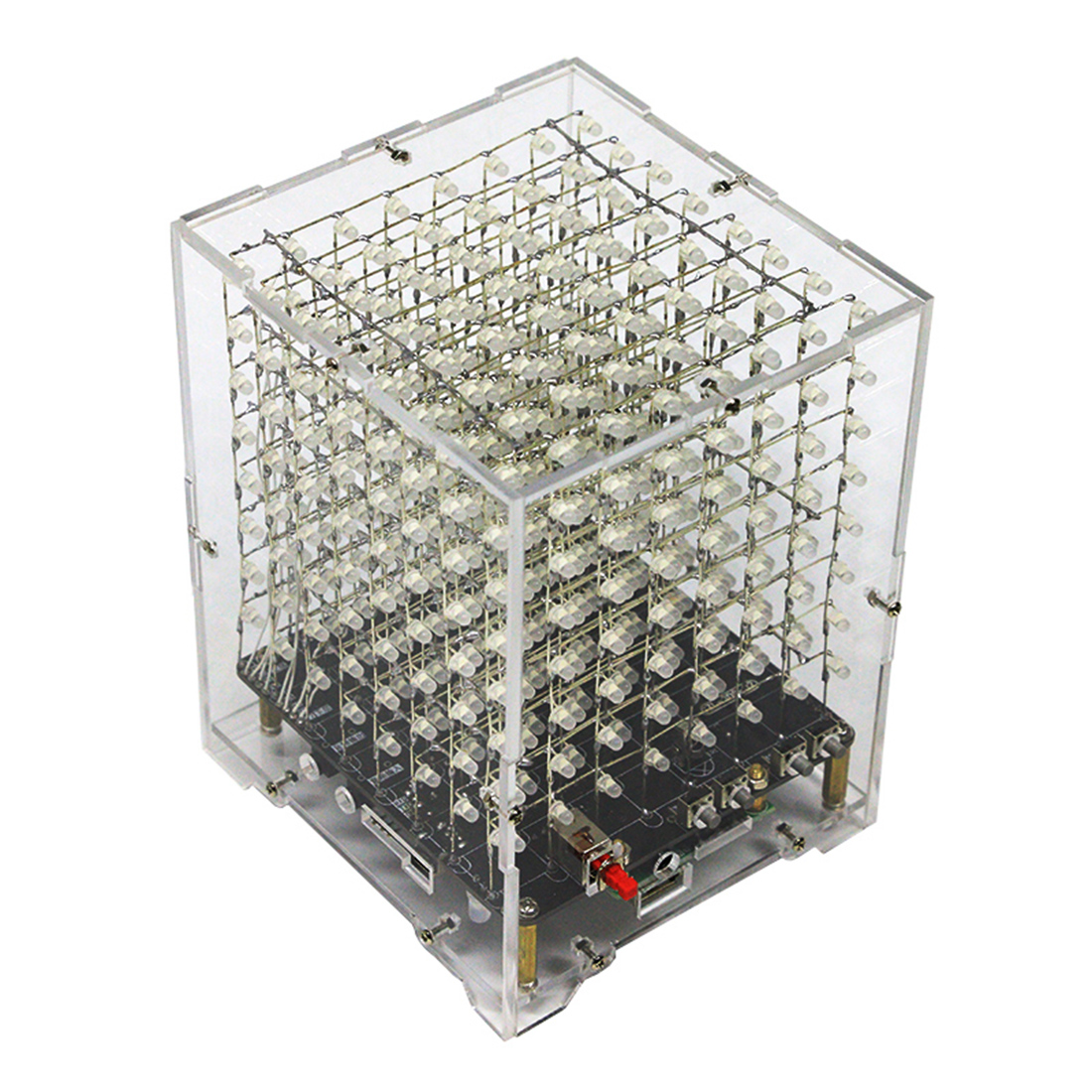 DIY Welding Electronic Bulk Parts Light Cube Kit (with Bluetooth, Horn, Remote Control, Seven Colours Changing, With Shell) - L