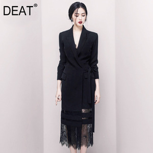 Image 1 - DEAT 2020 Good Morning! Black Lady Of Quality Ol Commute Temperament False Twinset Lace Long Fund Suit Dress WI126