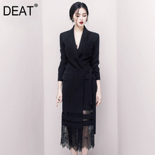 DEAT 2020 صباح الخير! سيدة سوداء من الجودة Ol تخفيف مزاجه كاذبة Twinset الدانتيل طويل صندوق فستان بتصميم بدلة WI126