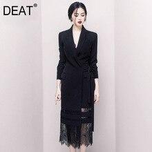 DEAT 2020 iyi sabah! Siyah bayan kaliteli Ol Commute mizaç yanlış Twinset dantel uzun fon takım kıyafet WI126