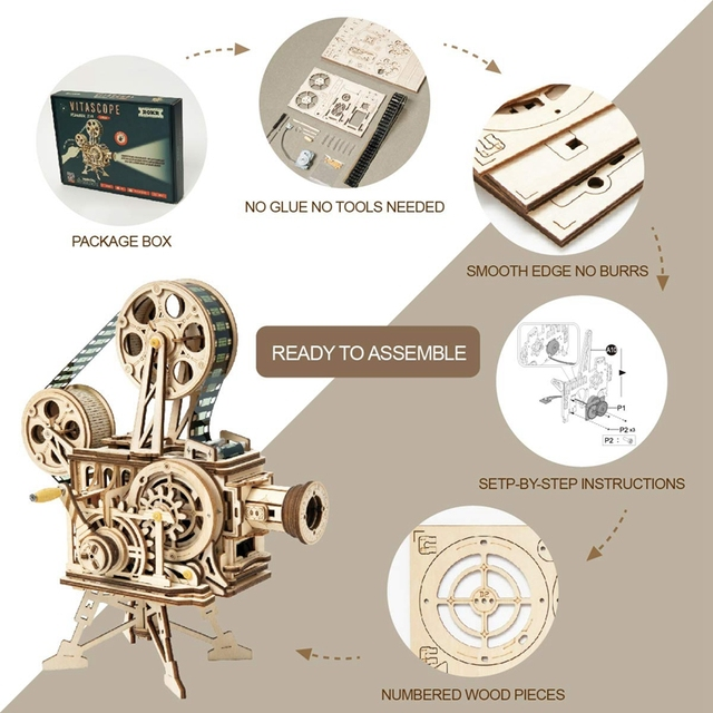 Robotime 183pcs Retro Diy 3D Hand Crank Film Projector Wooden Model Building Kits Assembly Vitascope Toy Gift for Children Adult 2
