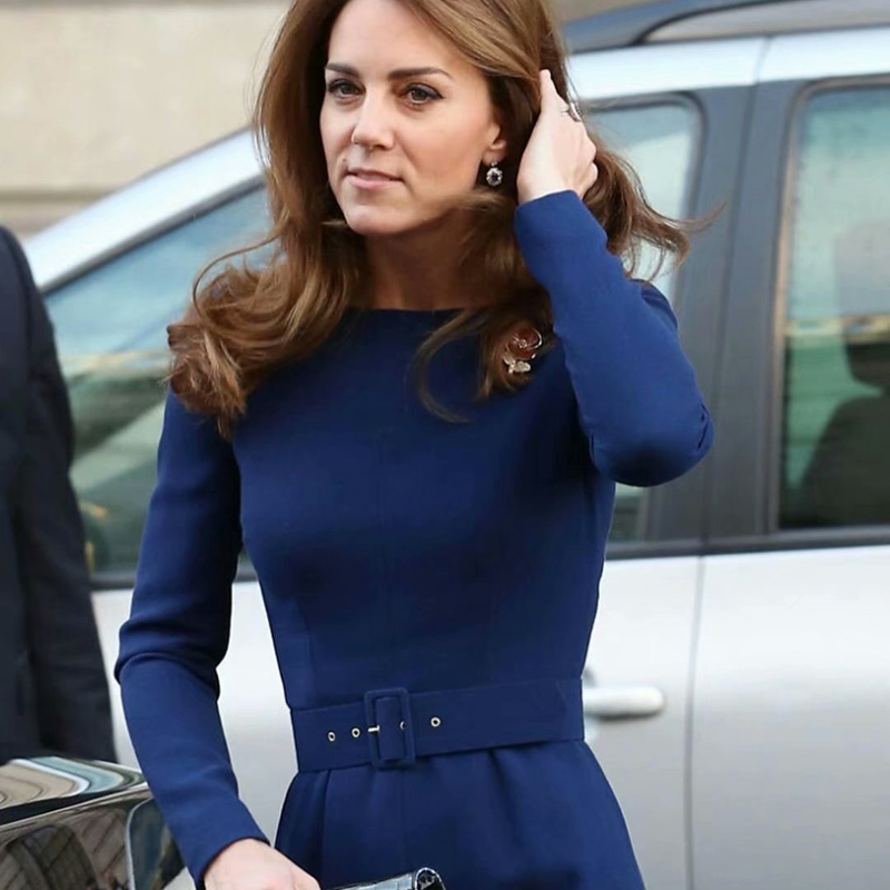 Kate Middleton Belt Long Sleeve Slim Temperament Blue Banquet Elegant Dress 2020 Spring New Women'S High Quality Designer