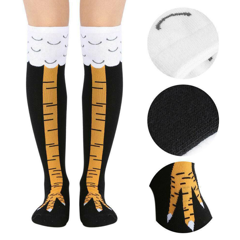 Women Crazy Funny Chicken Leg Cluck Novelty Knee Thight High Sock Breathable Fitness Gift -MX8