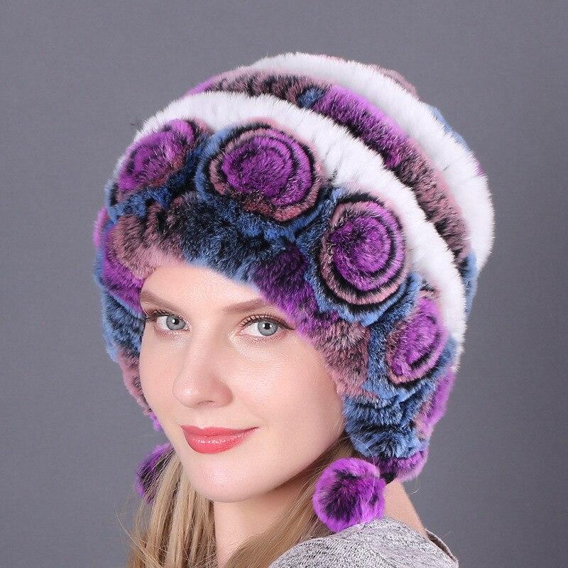 Купить шапка женская из меха кролика рекс