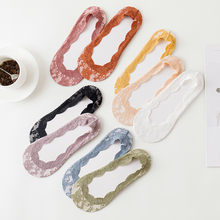 1Pair Invisible Anti-Slip Ankle Socks Lace Socks Women Short Sock Flower Fashion Cotton No Show