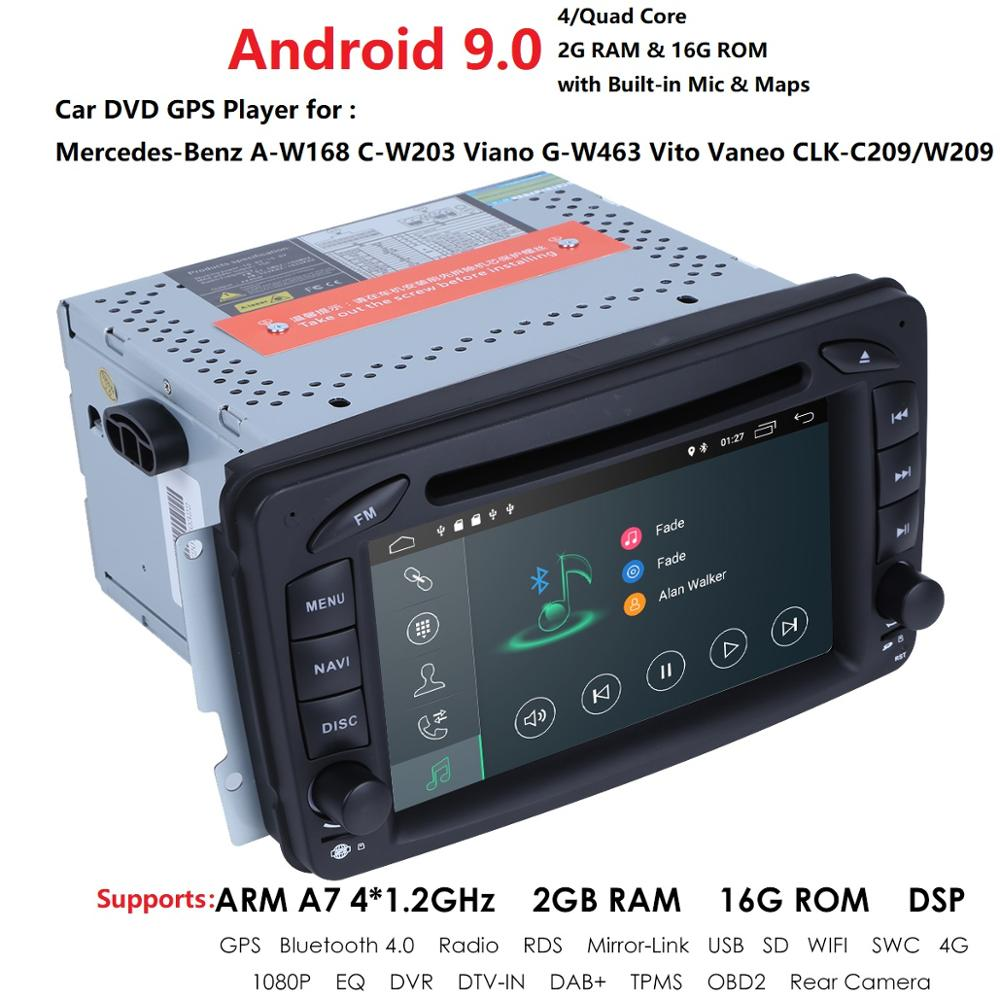 <font><b>Android</b></font> 2Din Car Radio For <font><b>Mercedes</b></font> Benz CLK W209 <font><b>W203</b></font> W208 W463 Vaneo Viano Vito BT SD <font><b>GPS</b></font> Navigation Car Multimedia DVD Player image