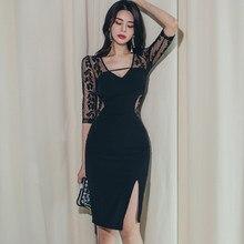 Nova chegada moda vestido de festa feminina elegante outono do vintage rendas cinco manga com decote em v temperamento ol perspectiva bodycon vestido