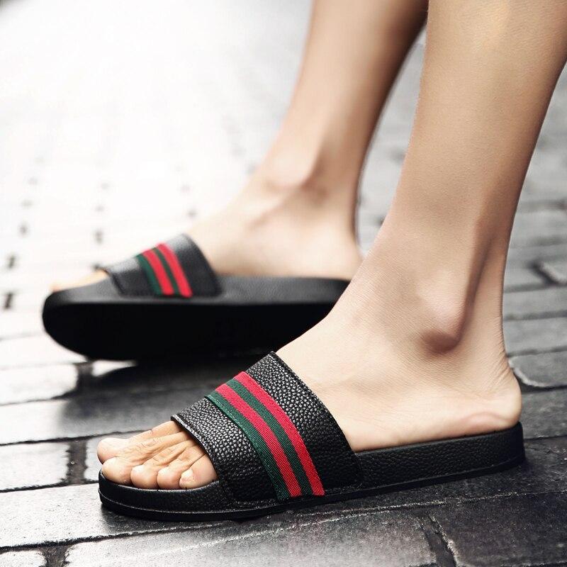 Coslony Men Slippers Summer Flat 2019 Men Shoes Breathable Beach Slippers Wedge Black White Flip Flops Men Brand Slides Slippers