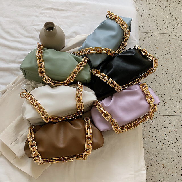 Luxury Thick Gold Chains Cloud Bags for Women 2021 Fashion Soft Leather Women's Designer Handbags Trend Crossbody Shoulder Bag 5