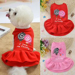 Cute Dog Dress Dog Clothes For Small Dogs Fashion Pink Red Dog Skirt Cute Sleeveless Princess Dress Puppy Pet Cat Cotton Costume