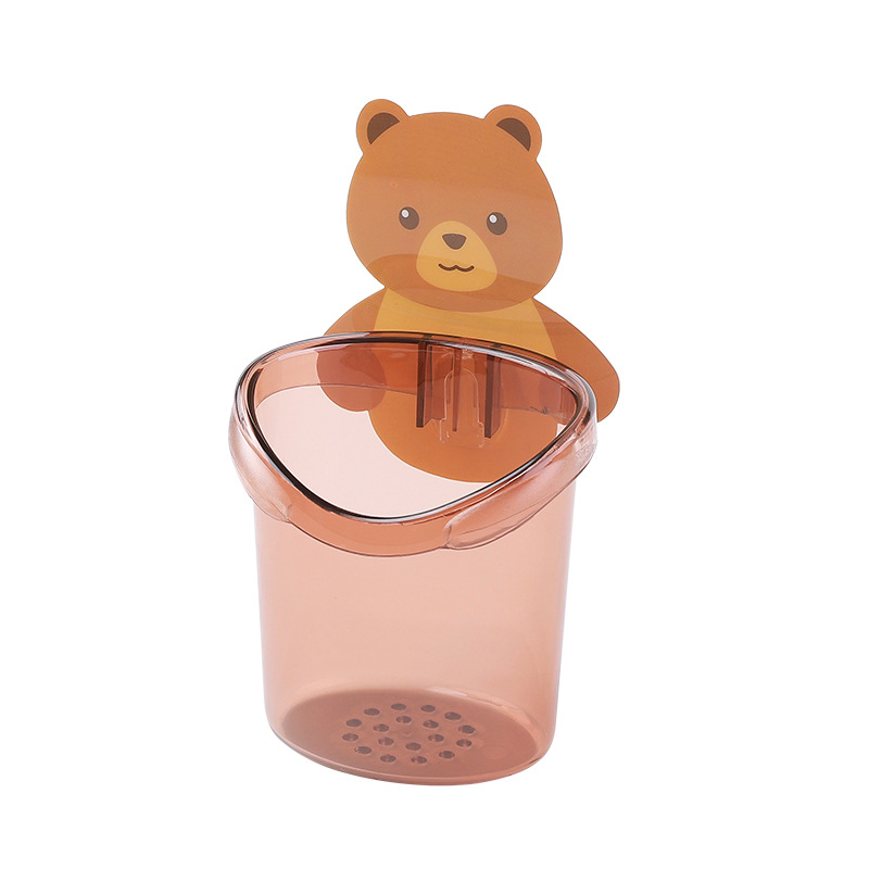 Practical New Cute Bear Design Toothbrush Sucker Holder Cup Organizer Cosmetic Rack For Bathroom Kitchen Storage Box Brown image