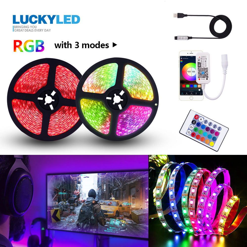 LUCKYLED Led Strip RGB Waterproof 2835 5050 SMD Flexible Led Tape USB 5V Led Light Strip Smart Wifi Backlight With Remote 24Key