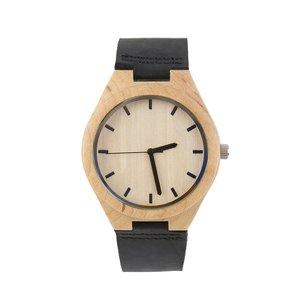 Кварцевые часы с деревянным циферблатом, черный кожаный ремешок, простой элегантный стиль, наручные часы, часы