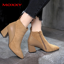 2019 New Ladies Sexy Boots Women Shoes Suede Zip Pointed Toe Brown High Heel Boots Female Fashion Winter Warm Plush Ankle Boots