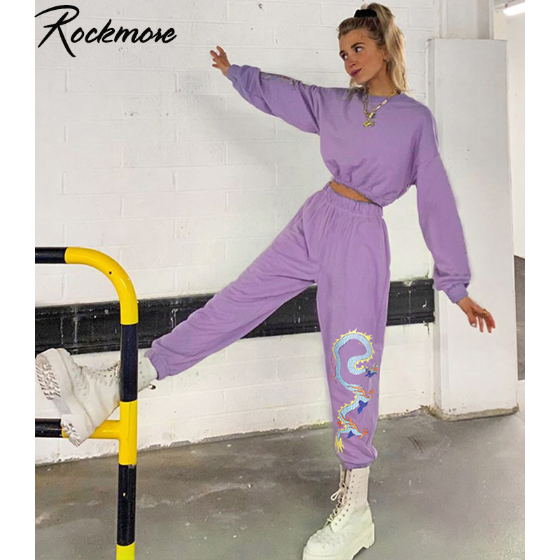 Rockmore Dragon Print High Waist Joggers Plus Size Jogger Pants Women High Waisted Trousers Streetwear Purple Capris Harajuku