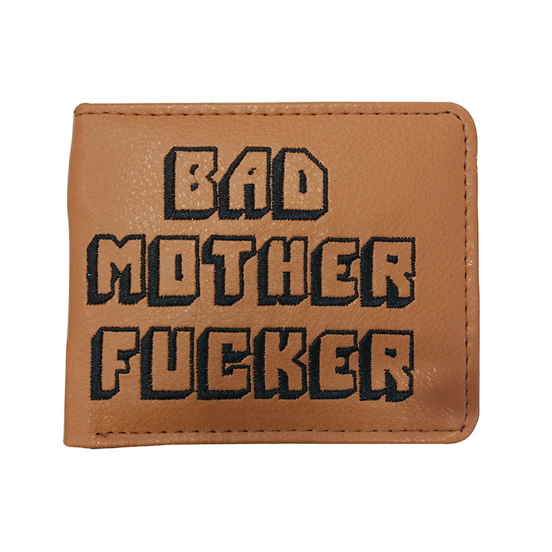 Zebella Pulp Fiction Jules Wallet With Zipper Coin Pocket Bad Mother Letters Solid Wallet Card Holder Fashion Gift Purse