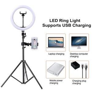 Image 3 - 10インチledリングライトと110センチメートル三脚携帯電話ミニledカメラビデオ写真撮影のためにリングライトガーデンライトメイクyoutubeブロガー