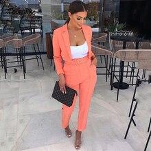 Женские повседневные офисные костюмы, розовый оранжевый костюм, женский укороченный топ и брюки, костюм для женщин, комплект из блейзера, 2021