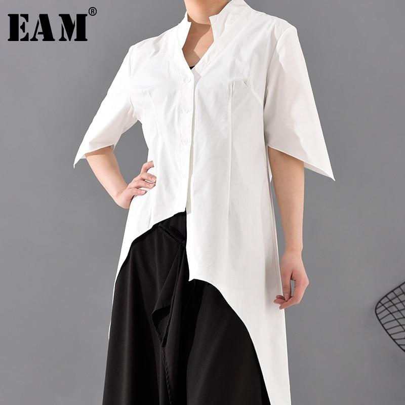 [EAM] Women Asymmetrical Split Joint Long Blouse New V-collar Half Sleeve Loose Fit Shirt Fashion Spring Summer 2020 1S54300