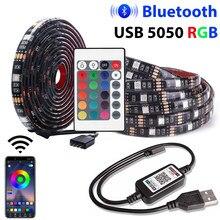 USB LED Strip RGB 5050 SMD DC 5V Controle Bluetooth 1M 2M 3M 5M Flexível levou luz de tira para a Decoração Home TV Luzes de Fundo