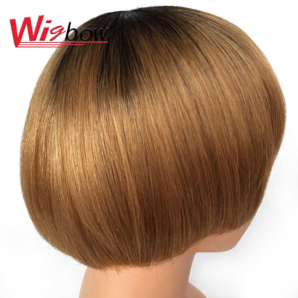 Wigbow Short Bob Wigs Straight Human Wigs Bralizian Remy Hair T1B/30 T1B/Grey Wigs For Women Shipping For Free