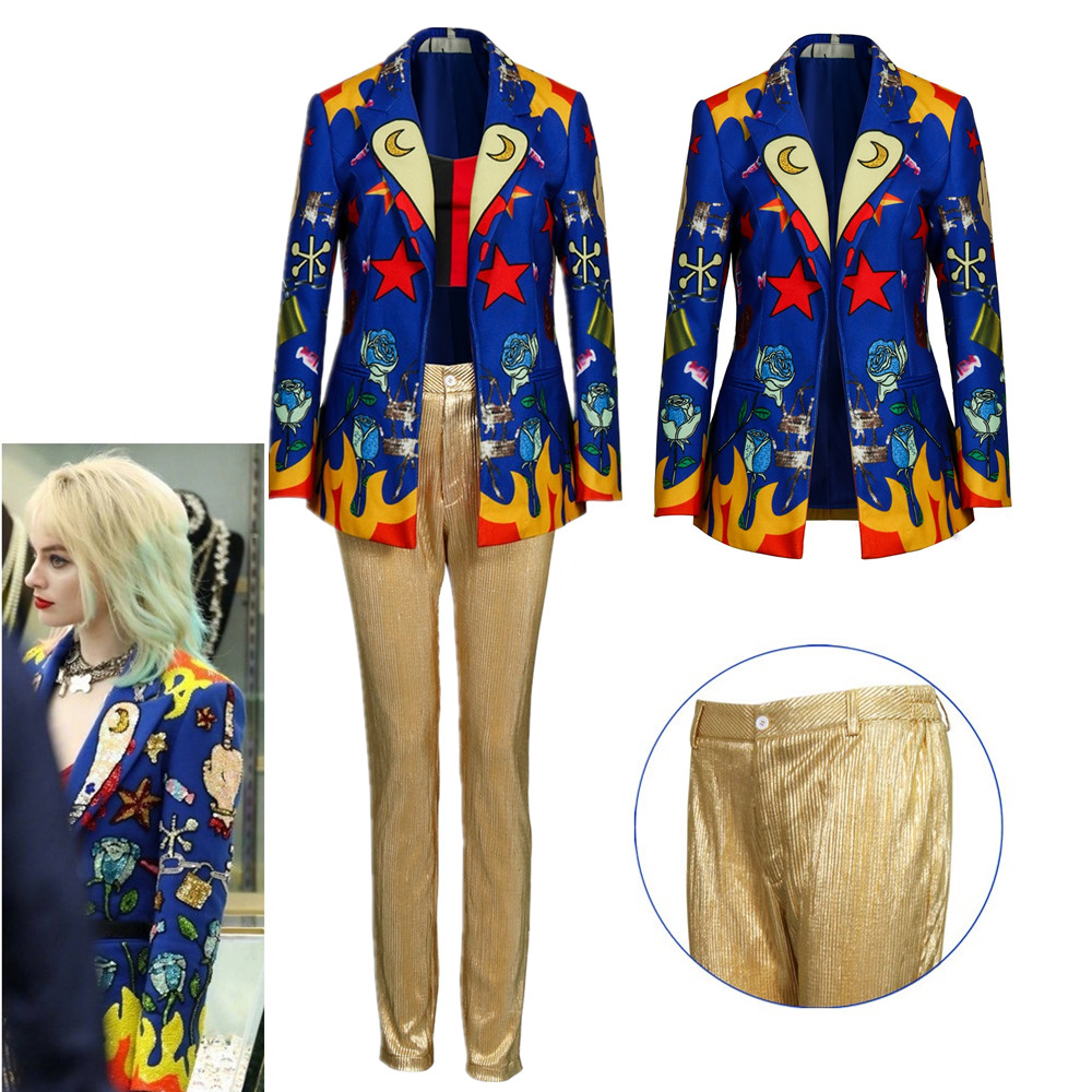 Birds Of Prey: And The Fantabulous Emancipation Of One Quinn Cosplay Costume Jacket Pants Women Halloween Suit Blue Printed