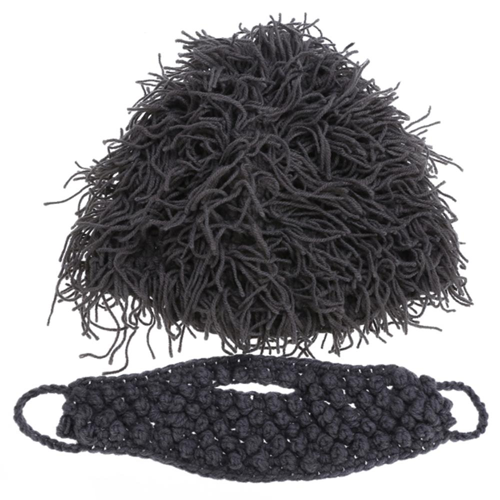 Cool Gift Wig Beard Men 39 s Hats Hobo Mad Scientist Caveman Handmade Knit Warm Winter Caps Men Women Hallowee Funny Party Beanies in Men 39 s Skullies amp Beanies from Apparel Accessories
